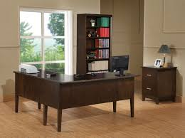 furniture modern black stained wooden desktop computer desk which