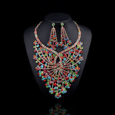 gold plated statement necklace images 2017 new design bridal jewelry sets gold plated big flower jpg