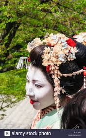 japan kyoto and shoulders of maiko geisha showing the hair