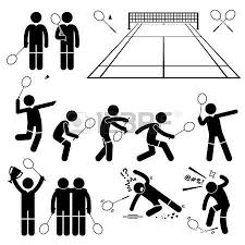 badminton player actions poses stick figure pictogram icons vector