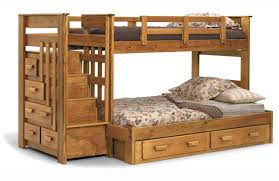 Wooden Bunk Bed With Stairs Light Brown Wooden Bunk Bed With Drawers Beside The Stairs Also