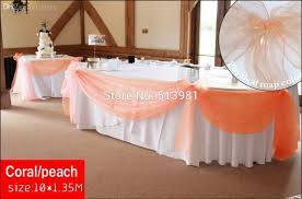 Curtains Wedding Decoration Wholesale Coral Peach 10m 1 35m Organza Swag Fabric Wedding