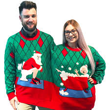 christmas sweaters two person christmas sweater deck the bathroom stupid