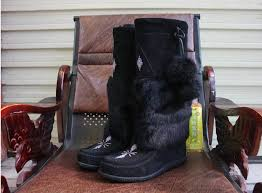 womens fur boots canada luxurious muks mukluks brand beading genuine leather mid
