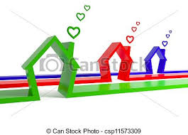 three houses 3d render of three houses with clouds isolated on stock