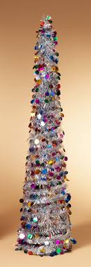 tinsel tree pop up tinsel tree silver with multi colored circles christmas