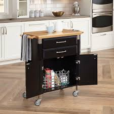 Natural Wood Kitchen Island by Home Styles Dolly Madison Black Kitchen Cart With Natural Wood Top