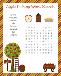Halloween Word Search Free Printable Free Fall Festive Apple Picking Word Search Printable Worksheet