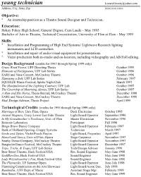 Sample Acting Resume by Marvellous Technical Theatre Resume 13 For Resume Templates Free