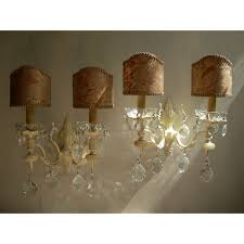 Crystal Wall Sconces by Pair Of Italian Antique Painted Bronze And Crystal Wall Sconces