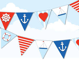 4th Of July Bunting Decorations Printable Nautical Bunting Sailor Navy Red White By Emilyhingston