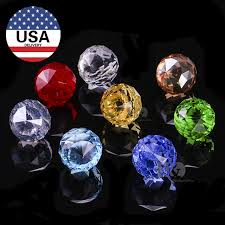 h d 8pc lot 20mm faceted glass crystal chandelier parts pendant prisms lighting ball clear suncatcher