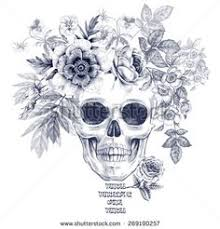 background of skulls with roses and leaves free vector