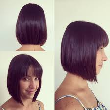 hairstyles bob with bangs medium length women u0027s medium length bob cut with thin fringe bangs on dark hair