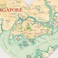 Singapore Map World by Singapore Map Heart Print By Bombus Off The Peg
