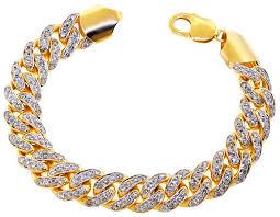 link bracelet images Mens diamond miami cuban bracelet 10k yellow gold 7 55 ct 13 mm jpg