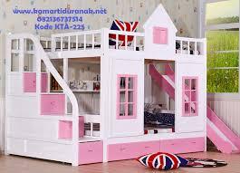 Jual Bunk Bed Perosotan Model Rumah Pink White Modern Bunk Bed - Pink bunk bed