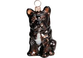 bulldog brindle glass ornament by to the