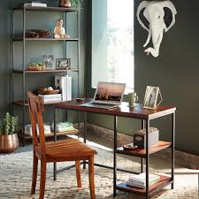 Metal And Wood Bookshelves by Rajah Mango Wood And Metal Frame Desk And Bookshelf Vivaterra