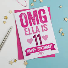 omg personalised 11th birthday card by a is for alphabet