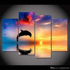 dolphin home decor 2018 canvas art canvas painting dolphin sunset sea hd printed wall
