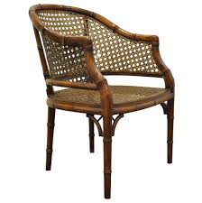Chinese Chippendale Chair by Vintage Hollywood Regency Hekman Barrel Faux Bamboo Cane Lounge