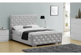 Grey Bed Frame Chelsea Diamante Grey Chenille Fabric Bed Frame