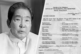 biography of ferdinand marcos was ferdinand marcos born in 1916 local document shows different
