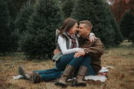 new jersey wedding photographer christmas tree farm engagement