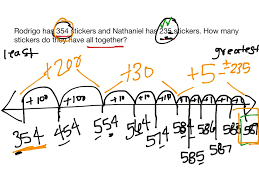 showme 3 digit addition open number line