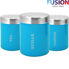 3pc canister set stainless steel coffee tea sugar jar lid