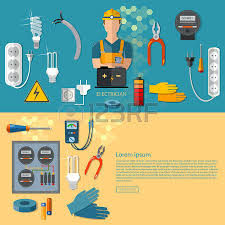 professional electrician with electricity tools silhouette vector