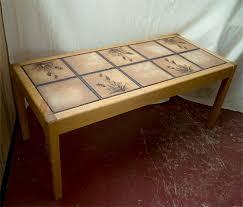 tile top coffee table tile tables retro tile top teak rectangular coffee table tile it