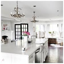 Kitchen Chandelier All White Kitchen With Misty Carrera Caeserstone Countertops And