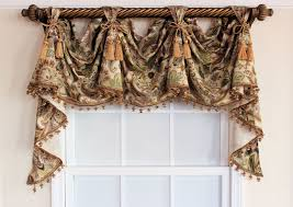 jacobean victory valance swag with or without tassel trim and