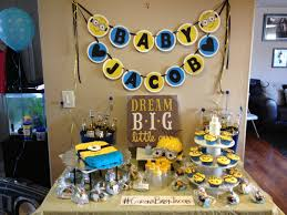 minion baby shower diy minion themed shower a fews month s fancy made