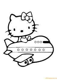 kitty airplane coloring free coloring pages