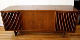 mid century console cabinet mid century modern slatted stereo record player rca victrola