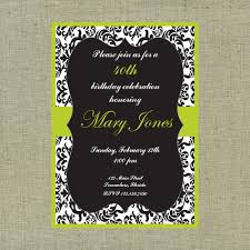 black white and green damask custom printable invitation on storenvy
