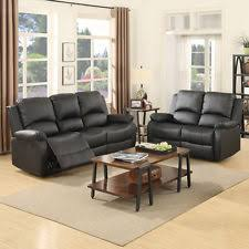 2 Seater Sofa With Chaise Black Leather Couch Sofas Loveseats U0026 Chaises Ebay