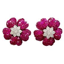diamond earrings for sale invisibly set ruby diamond earrings for sale at 1stdibs