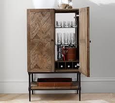 Bar Storage Cabinet Parquet Bar Cabinet Pottery Barn