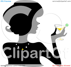 martini silhouette vector clipart of a martini cocktail with a green olive royalty free