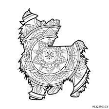 vector illustration mandala dog coloring book cane