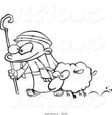 vector of a cartoon shepherd and sheep coloring page outline by