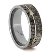 antler wedding ring deer antler wedding band with sterling silver arrow titanium ring