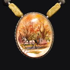 antique sterling silver necklace images Painted carriage pendant ettc jpg