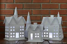 Paper Mache Christmas Crafts - glitter and lace christmas village