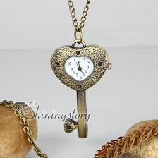 key necklace men images Brass antique style key heart pocket watch pendant long chain jpg