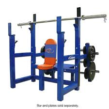 Weight Bench With Bar - olympic shoulder press bench with plate storage legend fitness